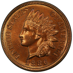 Click now to see the BUY IT NOW Price! 1886 1C VARIETY 2 INDIAN CENT   TYPE 3 BRONZE PCGS MS66 RD 3281 2