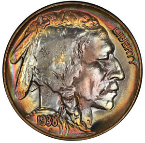 Click now to see the BUY IT NOW Price! 1938 D/S 5C BUFFALO NICKEL PCGS MS68 3281 17