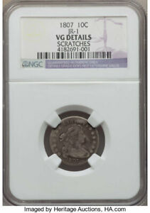 1807 DRAPED BUST DIME 10C NGC VG DETAILS