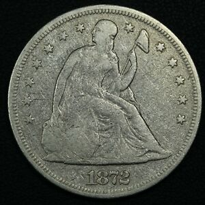 1872 SEATED LIBERTY SILVER DOLLAR   CLEANED