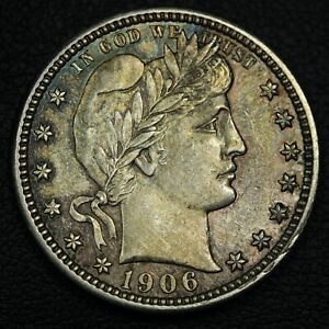 1906 D BARBER SILVER QUARTER   CLEANED