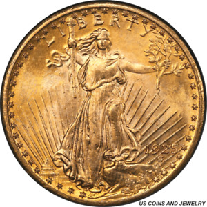 1925 ST. GAUDENS $20 GOLD DOUBLE EAGLE PCGS MS66 ROLLING LUSTER RICH PATINA