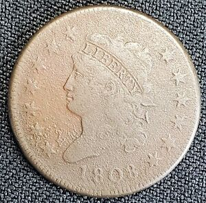 RAW 1808 CLASSIC HEAD LARGE CENT 1C   13 STARS   CORROSION ISSUES