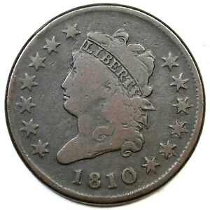 1810 S 282 R 2 CLASSIC HEAD LARGE CENT COIN 1C