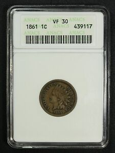 1861 COPPER NICKEL INDIAN HEAD CENT ANACS VF 30