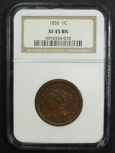 1855 N 9 KNOB ON EAR BRAIDED HAIR COPPER LARGE CENT NGC XF 45 BN