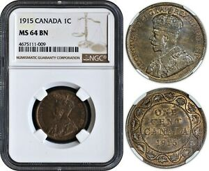 CANADA 1 CENT 1915  NGC MS64BN   EXCEPTIONAL EYE APPEAL & PREMIUM QUALITY