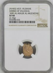 Click now to see the BUY IT NOW Price! AH 452   457 VALENCIA FRACTIONAL GOLD DINAR NGC XF 40