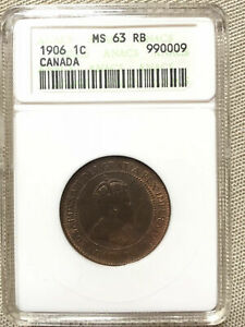 CANADA 1906 LARGE 1 ONE CENT 1C ANACS GRADED MS63 RB
