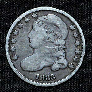 1833 CAPPED BUST DIME  VF FINE DETAILS  10C  NOW H504 TRUSTED