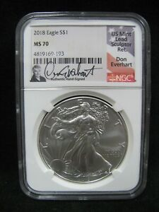 2018 AMERICAN SILVER EAGLE NGC MS 70 DON EVERHART SIGNED LABEL