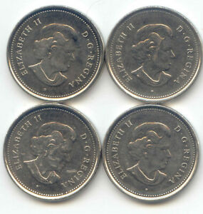 CANADA 2003 2004 2005 2006 [ ALL P ] FIVE CENT CANADIAN NICKELS NICKEL SET 5C