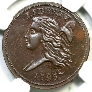 Click now to see the BUY IT NOW Price! 1793 C 4 R 3 NGC MS 62 BN LIBERTY CAP HALF CENT COIN 1/2C