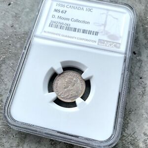 Click now to see the BUY IT NOW Price! 1936 CANADA 10 CENT SILVER COIN DIME NGC MS GEM 67   STUNNING TONING