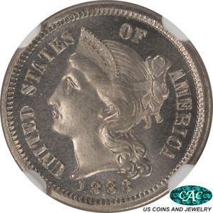 1883 THREE CENT NICKEL NGC PF66  STAR CAC PROOF EYE APPEAL