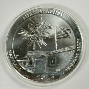 2013 US AMERICA THE BEAUTIFUL FORT MCHENRY 5 OZ. SILVER ROUND