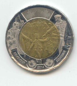 CANADA 2014 TOONIE REMEMBER CANADIAN $2 DOLLARS TWO DOLLAR WAIT FOR ME DADDY
