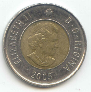 CANADA 2005 TOONIE CANADIAN $2 DOLLARS TWOONIE TOONY TWO DOLLAR EXACT COIN