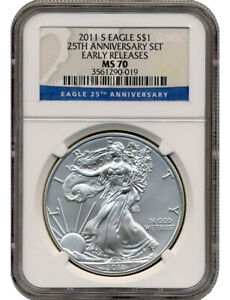 2011 S BURNISHED SILVER EAGLE 25TH ANNIVERSARY EARLY RELEASES NGC MS70