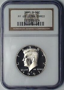 1991 S KENNEDY PROOF HALF DOLLAR NGC PF 69 ULTRA CAMEO 50 CENT TYPE 3 COIN