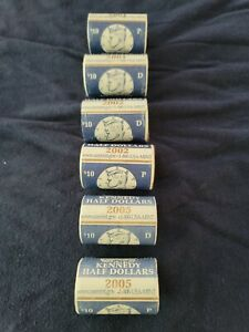 6  ROLLS KENNEDY HALF DOLLARS P & D 2001 2002 & 2005 DIRECT FROM US MINT