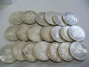Click now to see the BUY IT NOW Price! LOT OF  20 PRE 1968  CANADA  SILVER  1$  ONE DOLLAR  COINS  SILVER  LOT A  JUNK