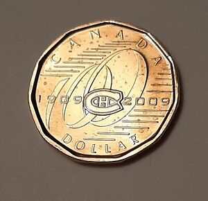 2009 AU CANADA  100TH ANNIVERSARY OF THE MONTREAL CANADIENS  ONE DOLLAR COIN