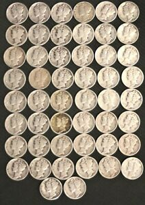Click now to see the BUY IT NOW Price! ROLL OF FIFTY  50   MERCURY DIMES 1924  1945 90  SILVER   34502