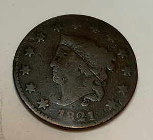 1821 LARGE CENT VG CONDITION LOW MINTAGE  COIN ONLY 389 000 MINTED A1