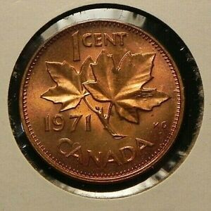 1971 UNCIRCULATED CANADIAN CANADA PENNY 1 ONE CENT COIN MAPLE TWIG ELIZABETH II
