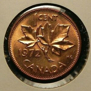 1972 UNCIRCULATED CANADIAN CANADA PENNY 1 ONE CENT COIN MAPLE TWIG ELIZABETH II