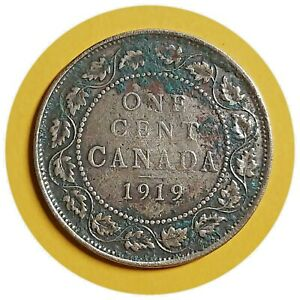 1919 CANADA CANADIAN LARGE COPPER 1 CENT COINS 240
