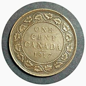 1917 CANADA CANADIAN LARGE COPPER 1 CENT COINS 241