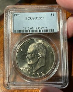 1973 P AND D EISENHOWER IKE DOLLARS  BOTH PCGS MS65   2 COINS