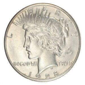 1928 P PEACE DOLLAR NICE WHITE COIN   NO ISSUES UNCIRCULATED