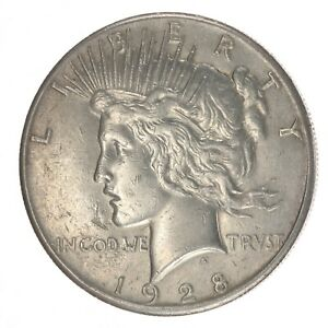 1928 P PEACE DOLLAR NICE WHITE COIN   NO ISSUES ALMOST UNCIRCULATED