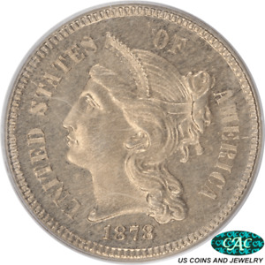 1878 3 CENT NICKEL PROOF PCGS PR63 CAC OGH OLD GREEN HOLDER ORIGINAL SURFACES