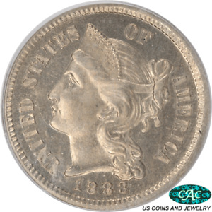 1883 3 CENT NICKEL PROOF PCGS PR64 CAC OGH OLD GREEN HOLDER ORIGINAL SURFACES