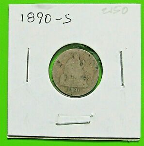 1890 S 10C SEATED DIME   90  SILVER