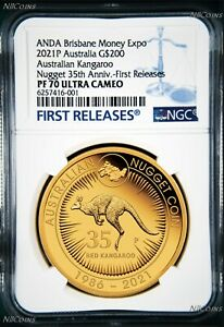 Click now to see the BUY IT NOW Price! 2021 AUSTRALIAN 35TH ANN. KANGAROO NUGGET $200 NGC PF70 .9999 2OZ GOLD COIN ANDA