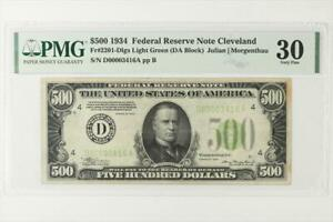 1934 $500 FEDERAL RESERVE NOTE CLEVELAND FR. 2201 D SN D00003416A PMG VF 30