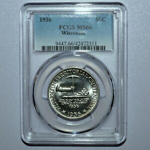 1936 WISCONSIN COMMEMORATIVE  PCGS MS 66  50C SILVER CENTENNIAL 311 TRUSTED