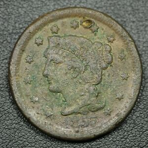 1857 LARGE DATE BRAIDED HAIR COPPER LARGE CENT   HOLED & CORRODED