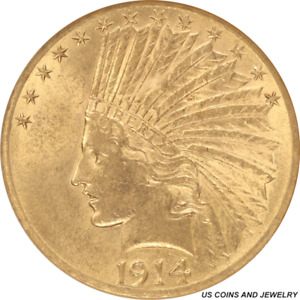 1914 D INDIAN HEAD $10 GOLD EAGLE SMALL WHITE HOLDER ANACS MS 61