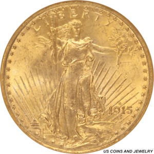 1915 S SAINT ST. GAUDENS $20 GOLD DOUBLE EAGLE OLD BROWN LABEL NGC MS 64