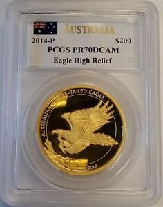 Click now to see the BUY IT NOW Price! 2014 AUSTRALIA AUSTRALIAN 2 OZ WEDGE TAILED EAGLE HR PROOF GOLD COIN PCGS PR70