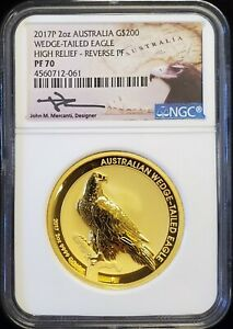 Click now to see the BUY IT NOW Price! 2017 AUSTRALIAN 2 OZ WEDGE TAILED EAGLE HR REVERSE PROOF GOLD COIN NGC PF70 UC