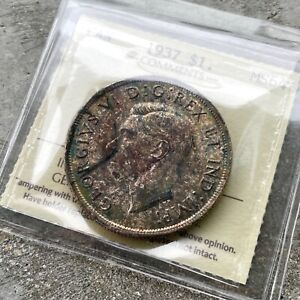 1937 CANADA 1 DOLLAR SILVER COIN ONE DOLLAR   ICCS 64   WITH TONING