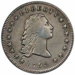 1795 2 LEAVES FLOWING HAIR SILVER DOLLAR COIN PCGS VF DETAILS; BEAUTIFUL HISTORY