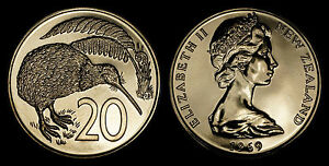NEW ZEALAND 20 CENTS 1969  PROOFLIKE   LOW MINTAGE